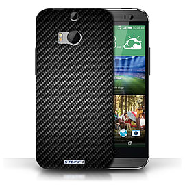 STUFF4 Phone Case/Cover for HTC One/1 M8/Grey Design/Carbon Fibre Effect/Pattern Collection Mobile phones