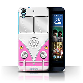 STUFF4 Phone Case/Cover for HTC Desire 626G+/Pink Design/VW Camper Van Collection Mobile phones