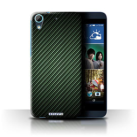 STUFF4 Phone Case/Cover for HTC Desire 626G+/Green Design/Carbon Fibre Effect/Pattern Collection Mobile phones