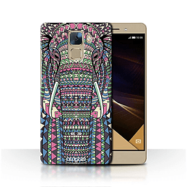 STUFF4 Phone Case/Cover for Huawei Honor 7/Elephant-Colour Design/Aztec Animal Design Collection Mobile phones