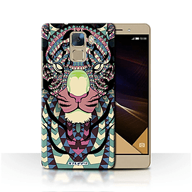 STUFF4 Phone Case/Cover for Huawei Honor 7/Tiger-Colour Design/Aztec Animal Design Collection Mobile phones