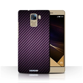 STUFF4 Phone Case/Cover for Huawei Honor 7/Purple Design/Carbon Fibre Effect/Pattern Collection Mobile phones