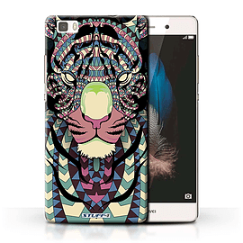 STUFF4 Phone Case/Cover for Huawei P8 Lite/Tiger-Colour Design/Aztec Animal Design Collection Mobile phones
