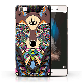 STUFF4 Phone Case/Cover for Huawei P8 Lite/Wolf-Colour Design/Aztec Animal Design Collection Mobile phones