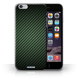 STUFF4 Phone Case/Cover for Apple iPhone 6S+/Plus/Green Design/Carbon Fibre Effect/Pattern Mobile phones