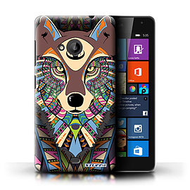 STUFF4 Phone Case/Cover for Microsoft Lumia 535/Wolf-Colour Design/Aztec Animal Design Collection Mobile phones