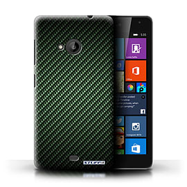 STUFF4 Phone Case/Cover for Microsoft Lumia 535/Green Design/Carbon Fibre Effect/Pattern Collection Mobile phones