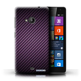 STUFF4 Phone Case/Cover for Microsoft Lumia 535/Purple Design/Carbon Fibre Effect/Pattern Collection Mobile phones