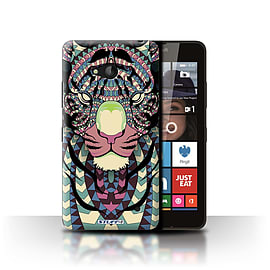 STUFF4 Phone Case/Cover for Microsoft Lumia 640/Tiger-Colour Design/Aztec Animal Design Collection Mobile phones