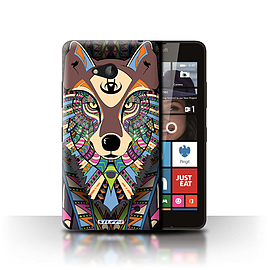 STUFF4 Phone Case/Cover for Microsoft Lumia 640/Wolf-Colour Design/Aztec Animal Design Collection Mobile phones