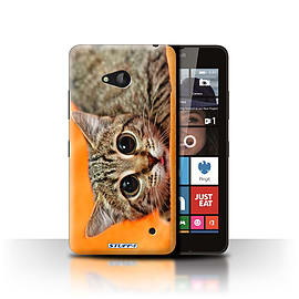 STUFF4 Phone Case/Cover for Microsoft Lumia 640/Big Eye Cat Design/Funny Animals Collection Mobile phones