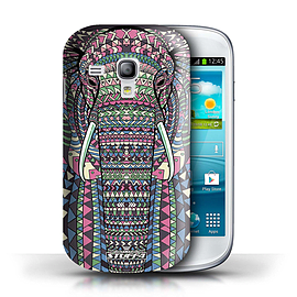 STUFF4 Phone Case/Cover for Samsung Galaxy S3 Mini/Elephant-Colour Design/Aztec Animal Design Mobile phones
