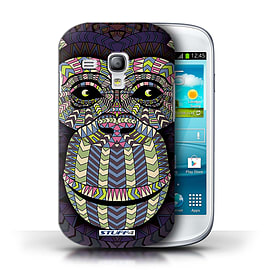 STUFF4 Phone Case/Cover for Samsung Galaxy S3 Mini/Monkey-Colour Design/Aztec Animal Design Mobile phones
