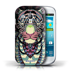 STUFF4 Phone Case/Cover for Samsung Galaxy S3 Mini/Tiger-Colour Design/Aztec Animal Design Mobile phones