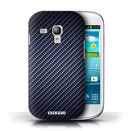 STUFF4 Phone Case/Cover for Samsung Galaxy S3 Mini/Blue Design/Carbon Fibre Effect/Pattern Mobile phones
