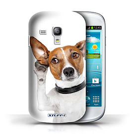 STUFF4 Phone Case/Cover for Samsung Galaxy S3 Mini/Listening Dog Design/Funny Animals Collection Mobile phones