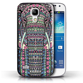 STUFF4 Phone Case/Cover for Samsung Galaxy S4 Mini/Elephant-Colour Design/Aztec Animal Design Mobile phones