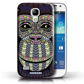 STUFF4 Phone Case/Cover for Samsung Galaxy S4 Mini/Monkey-Colour Design/Aztec Animal Design Mobile phones