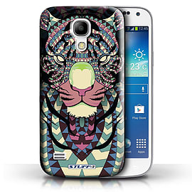 STUFF4 Phone Case/Cover for Samsung Galaxy S4 Mini/Tiger-Colour Design/Aztec Animal Design Mobile phones