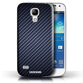 STUFF4 Phone Case/Cover for Samsung Galaxy S4 Mini/Blue Design/Carbon Fibre Effect/Pattern Mobile phones