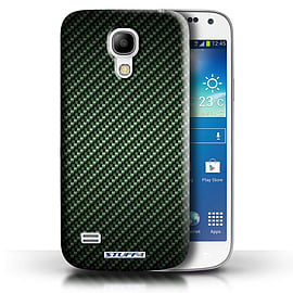 STUFF4 Phone Case/Cover for Samsung Galaxy S4 Mini/Green Design/Carbon Fibre Effect/Pattern Mobile phones
