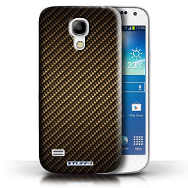 STUFF4 Phone Case/Cover for Samsung Galaxy S4 Mini/Gold Design/Carbon Fibre Effect/Pattern Mobile phones
