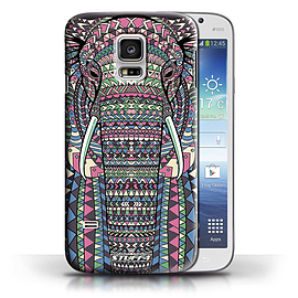 STUFF4 Phone Case/Cover for Samsung Galaxy S5 Mini/Elephant-Colour Design/Aztec Animal Design Mobile phones