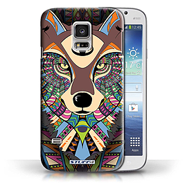 STUFF4 Phone Case/Cover for Samsung Galaxy S5 Mini/Wolf-Colour Design/Aztec Animal Design Collection Mobile phones