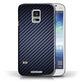 STUFF4 Phone Case/Cover for Samsung Galaxy S5 Mini/Blue Design/Carbon Fibre Effect/Pattern Mobile phones