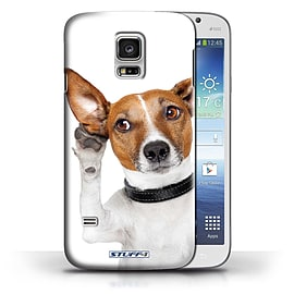 STUFF4 Phone Case/Cover for Samsung Galaxy S5 Mini/Listening Dog Design/Funny Animals Collection Mobile phones