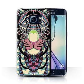 STUFF4 Phone Case/Cover for Samsung Galaxy S6 Edge/Tiger-Colour Design/Aztec Animal Design Mobile phones