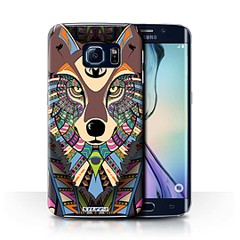 STUFF4 Phone Case/Cover for Samsung Galaxy S6 Edge/Wolf-Colour Design/Aztec Animal Design Collection Mobile phones