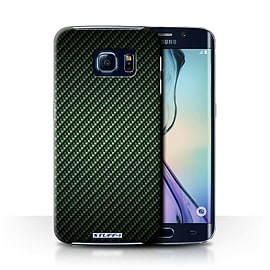 STUFF4 Phone Case/Cover for Samsung Galaxy S6 Edge/Green Design/Carbon Fibre Effect/Pattern Mobile phones