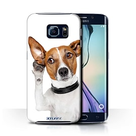 STUFF4 Phone Case/Cover for Samsung Galaxy S6 Edge/Listening Dog Design/Funny Animals Collection Mobile phones