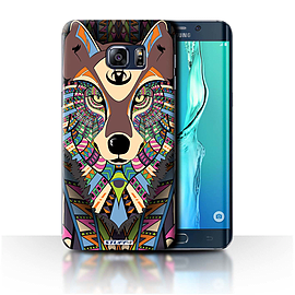 STUFF4 Phone Case/Cover for Samsung Galaxy S6 Edge+/Plus/Wolf-Colour Design/Aztec Animal Design Mobile phones