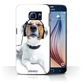 STUFF4 Phone Case/Cover for Samsung Galaxy S6/G920/Chillin Headphone Dog Design/Funny Animals Mobile phones