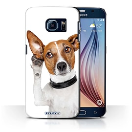 STUFF4 Phone Case/Cover for Samsung Galaxy S6/G920/Listening Dog Design/Funny Animals Collection Mobile phones