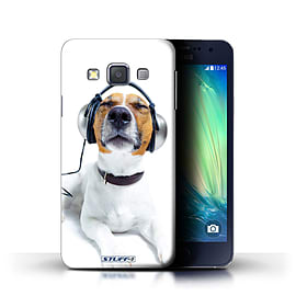 STUFF4 Phone Case/Cover for Samsung Galaxy A3/A300/Chillin Headphone Dog Design/Funny Animals Mobile phones