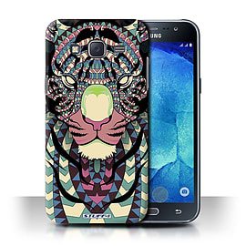 STUFF4 Phone Case/Cover for Samsung Galaxy J5/J500/Tiger-Colour Design/Aztec Animal Design Mobile phones