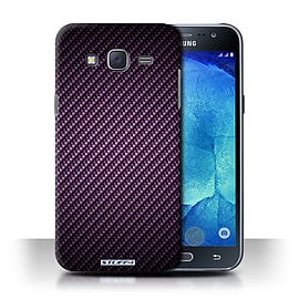 STUFF4 Phone Case/Cover for Samsung Galaxy J5/J500/Purple Design/Carbon Fibre Effect/Pattern Mobile phones