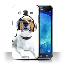 STUFF4 Phone Case/Cover for Samsung Galaxy J5/J500/Chillin Headphone Dog Design/Funny Animals Mobile phones