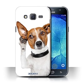 STUFF4 Phone Case/Cover for Samsung Galaxy J5/J500/Listening Dog Design/Funny Animals Collection Mobile phones
