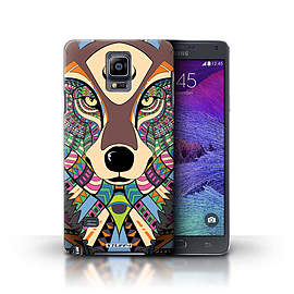 STUFF4 Phone Case/Cover for Samsung Galaxy Note 4/Wolf-Colour Design/Aztec Animal Design Collection Mobile phones