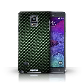 STUFF4 Phone Case/Cover for Samsung Galaxy Note 4/Green Design/Carbon Fibre Effect/Pattern Mobile phones