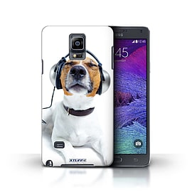 STUFF4 Phone Case/Cover for Samsung Galaxy Note 4/Chillin Headphone Dog Design/Funny Animals Mobile phones