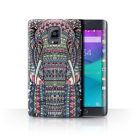 STUFF4 Phone Case/Cover for Samsung Galaxy Note Edge/N915/Elephant-Colour Design/Aztec Animal Design Mobile phones