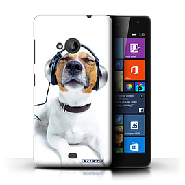 STUFF4 Phone Case/Cover for Microsoft Lumia 535/Chillin Headphone Dog Design/Funny Animals Mobile phones