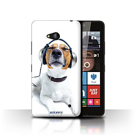 STUFF4 Phone Case/Cover for Microsoft Lumia 640/Chillin Headphone Dog Design/Funny Animals Mobile phones