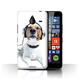 STUFF4 Phone Case/Cover for Microsoft Lumia 640 XL/Chillin Headphone Dog Design/Funny Animals Mobile phones