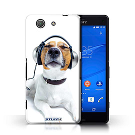 STUFF4 Phone Case/Cover for Sony Xperia Z3 Compact/Chillin Headphone Dog Design/Funny Animals Mobile phones